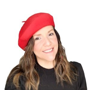 Beret Hat French Style Beanie Cap Red